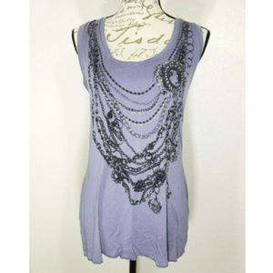 Violet Graphic Necklaces Embellished Tank Top